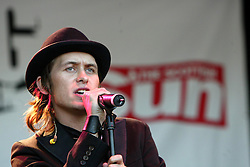 Take That's Mark Owen plays a solo set on stage at Big in Falkirk, Scotland's National Street Arts Festival, 1st May 2004.
