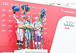 18.03.2011, Pista Silvano Beltrametti, Lenzerheide, SUI, FIS Ski Worldcup, Finale, Lenzerheide, Podium, im Bild Marlies Schild (AUT) zeitplatzierte, Siegerin Tina Maze (SLO) und die drittplatzierte Veronika Zuzulova (SVK) bei der Damen Slalom Siegerehrung im Zielraum auf der Lenzerheide. //  Podium, Slalom Women Marlies Schild (AUT) second place, Winner Tina Maze (SLO) and third place Veronika Zuzulova (SVK) during Podium, at Pista Silvano Beltrametti, in Lenzerheide, Switzerland, 18/03/2011, EXPA Pictures © 2011, PhotoCredit: EXPA/ J. Feichter