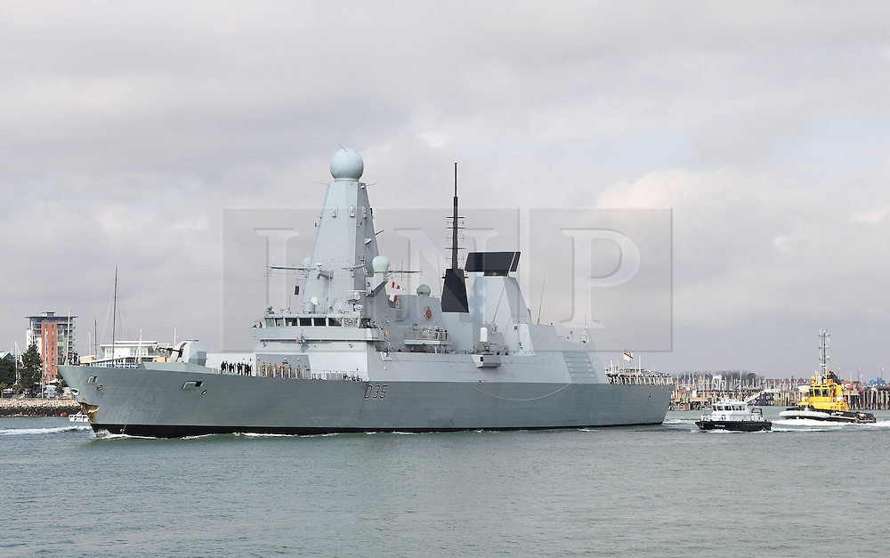 © under license to London News Pictures.  19/03/2013. Portsmouth. UK.  HMS Dragon leaves Portsmouth on its first ever deployment today 19th March 2013. The Type 45 destroyer will patrol the busy shipping lanes in the Indian Ocean as part of an anti-piracy operation. Picture credit: Bryan Moffat/LNP
