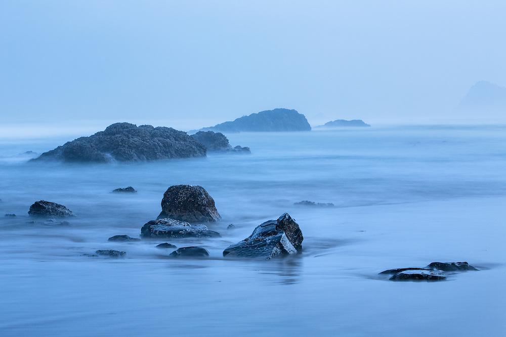 Foggy morning on the coast near Lincoln City, Oregon.