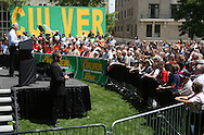 Vice President Joe Biden speaks at a rally for Iowa Governor Chet Culver at Green Square Park in Cedar Rapids, Iowa on Tuesday, May 18, 2010.