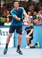 DENNIS NOVAK (AUT),Rueckhand,action, Aktion, Einzelbild, Ganzkoerper,Tattoo,<br /> <br /> Tennis - ERSTE BANK OPEN 2017 - ATP 500 -  Stadthalle - Wien -  - Oesterreich  - 26 October 2017. <br /> © Juergen Hasenkopf