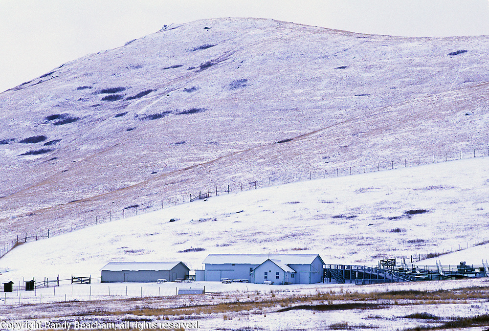Barns and corrals at the National Bison Range in winter. Moiese, Montana