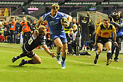 Tyler Morgan breaks tackle from Jaco van der Walt to score try  during the Guinness Pro 14 2018_19 match between Edinburgh Rugby and Dragons Rugby at Murrayfield Stadium, Edinburgh, Scotland on 15 February 2019.