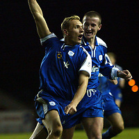 Clyde v St Johnstone..  07.12.02<br />Tommy Lovenkrands celebrates his goal with Chris Hay<br /><br />Pic by Graeme Hart<br />Copyright Perthshire Picture Agency<br />Tel: 01738 623350 / 07990 594431