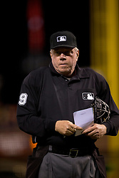 SAN FRANCISCO, CA - APRIL 14:  MLB umpire Brian Gorman #9 stands on the field during the sixth inning between the San Francisco Giants and the Colorado Rockies at AT&T Park on April 14, 2015 in San Francisco, California.  The Colorado Rockies defeated the San Francisco Giants 4-1. (Photo by Jason O. Watson/Getty Images) *** Local Caption *** Brian Gorman