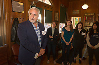 """The Hyde Park Historical Society in conjunction with the Hyde Park Chamber of Commerce held an open house Sunday, October 8th, 2017 to promote the push to win a grant for $75,000.00 from American Express and the National Trust for Historic Preservation to preserve the cable car building located at 5529 S. Lake Park Ave. where the Hyde Park Historical Society is housed. <br /> <br /> 0936 - 0939, 0972 – Executive Director for Preservation Chicago, Ward Miller speaks with people about the cable car as Program Coordinator for the National Main Street Center, Kelly Humrichouser, Amy Becker, Brigid Maniates of the Hyde Park Historical Society and Nisha Sutra listen.<br /> <br /> Please 'Like' """"Spencer Bibbs Photography"""" on Facebook.<br /> <br /> Please leave a review for Spencer Bibbs Photography on Yelp.<br /> <br /> All rights to this photo are owned by Spencer Bibbs of Spencer Bibbs Photography and may only be used in any way shape or form, whole or in part with written permission by the owner of the photo, Spencer Bibbs.<br /> <br /> For all of your photography needs, please contact Spencer Bibbs at 773-895-4744. I can also be reached in the following ways:<br /> <br /> Website – www.spbdigitalconcepts.photoshelter.com<br /> <br /> Text - Text """"Spencer Bibbs"""" to 72727<br /> <br /> Email – spencerbibbsphotography@yahoo.com"""