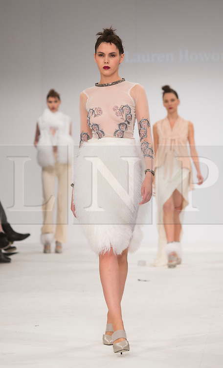 © Licensed to London News Pictures. 30/05/2015. London, UK. A model walks the runway during the Northbrook College Sussex fashion show at Graduate Fashion Week 2015 wearing the collection of graduate student Lauren Howorth. Graduate Fashion Week takes place from 30 May to 2 June 2015 at the Old Truman Brewery, Brick Lane. Photo credit : Bettina Strenske/LNP