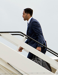 © London News Pictures. 06/06/2012. Luton, UK.  England Manchester City defender Joleon Lescott boarding a plane at Luton Airport in Bedfordshire on June 6, 2012 to head to Poland for the Euro 2012 football tournament. The squads training camp is based in Krakow.  Photo credit: Ben Cawthra/LNP