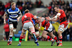 Carl Fearns of Bath Rugby takes on the London Welsh defence - Photo mandatory by-line: Patrick Khachfe/JMP - Mobile: 07966 386802 29/03/2015 - SPORT - RUGBY UNION - Oxford - Kassam Stadium - London Welsh v Bath Rugby - Aviva Premiership