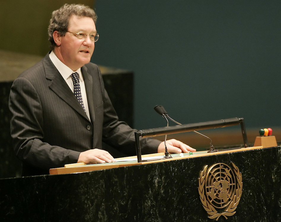 Australian Foreign Minister Alexander Downer addresses the 2005 Review Conference of the Parties to the Treaty on the Non-Proliferation of Nuclear Weapons at United Nations headquarters in New York Monday 2 May 2005.