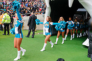 Jacksonville Jaguars Cheerleaders during the International Series match between Jacksonville Jaguars and Houston Texans at Wembley Stadium, London, England on 3 November 2019.