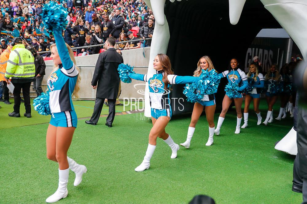 Jacksonville Jaguars Cheerleaders during the International Series match between Jacksonville Jaguars and Houston Texans at Wembley Stadium, London, England on 3 November 2019.