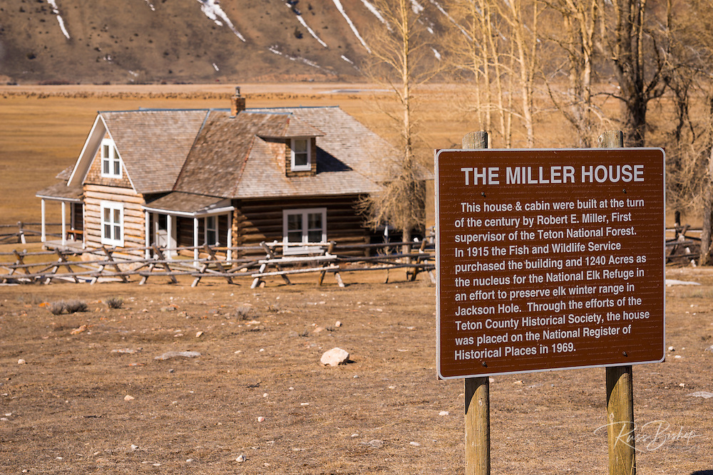 The historic Miller House, National Elk Refuge, Jackson Hole, Wyoming USA