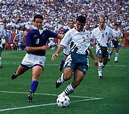 FIFA World Cup - USA 1994.Emil Kremenliev (Bulgaria) v Nikolaos Machlas (Greece).©JUHA TAMMINEN