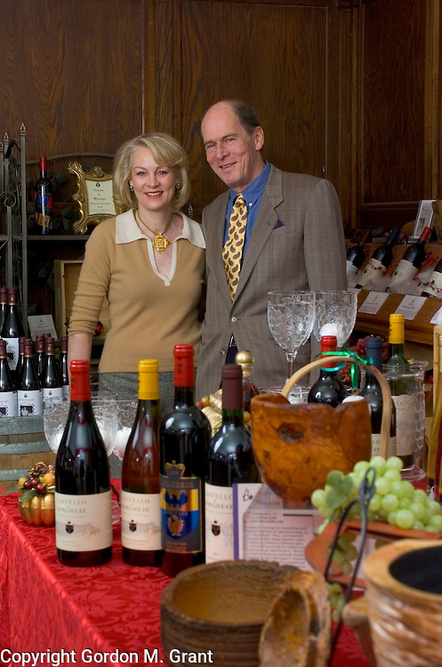 Cutchogue, NY - 120704 - Long Island - Princess Ann Marie Borghese and Prince Marco Borghese, owners of the Castello di Borghese Vineyard and Winery in Cutchogue, NY. Mr. Borghese is also President of The Long Island Wine Council.   (Photo by Gordon M. Grant)