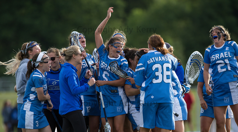 Israel celebrate their golden goal winner aginst Wales  during their classifictaion game at the 2017 FIL Rathbones Women's Lacrosse World Cup, at Surrey Sports Park, Guildford, Surrey, UK, 20th July 2017.