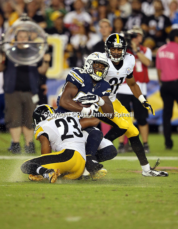 San Diego Chargers tight end Ladarius Green (89) gets tackled by Pittsburgh Steelers free safety Mike Mitchell (23) after catching a third quarter pass for a gain of 24 yards and a first down during the 2015 NFL week 5 regular season football game against the Pittsburgh Steelers on Monday, Oct. 12, 2015 in San Diego. The Steelers won the game 24-20. (©Paul Anthony Spinelli)