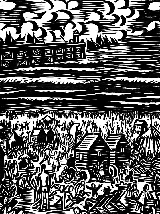 A black / white drawing of a beach in the summer. On the beach, people having fun, a pier topped by a lighthouse and sailboats in the sea.