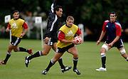 Photo: Richard Lane.<br /> New Zealand Maori training at Rugby School. Barclays Churchill Cup 2007. 21/05/2007. <br /> Maori's Craig West attacks.