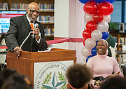 Dr. James Douglas comments during a library dedication at Attucks Middle School, January 18, 2017.