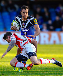 Bath Winger (#14) Olly Woodburn is tackled by Dragons Winger (#11) Ross Wardle during the second half of the match - Photo mandatory by-line: Rogan Thomson/JMP - Tel: Mobile: 07966 386802 09/11/2012 - SPORT - RUGBY - The Recreation Ground - Bath. Bath v Newport Gwent Dragons  - LV= Cup