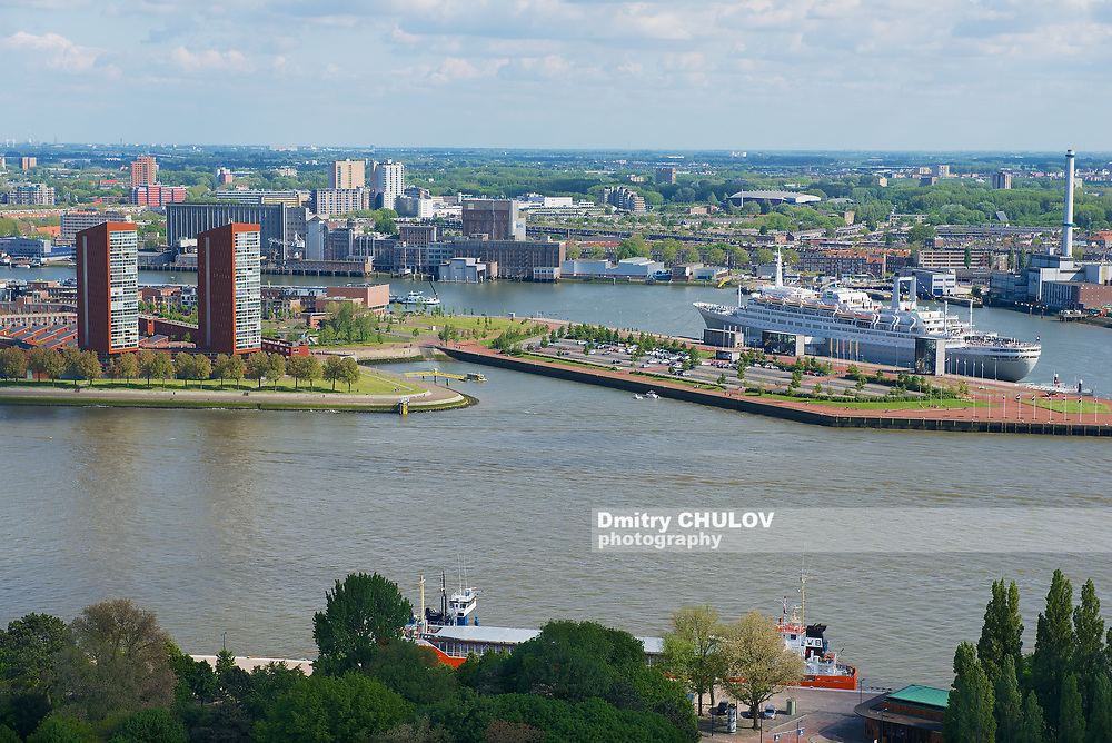Rotterdam, Netherlands - June 02, 2013: View to the city and port of Rotterdam, Netherlands.
