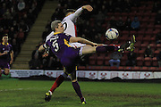Aaron Downes and Kyle Howkins during the Vanarama National League match between Kidderminster Harriers and Cheltenham Town at Aggborough, Kidderminster, United Kingdom on 26 December 2015. Photo by Antony Thompson.
