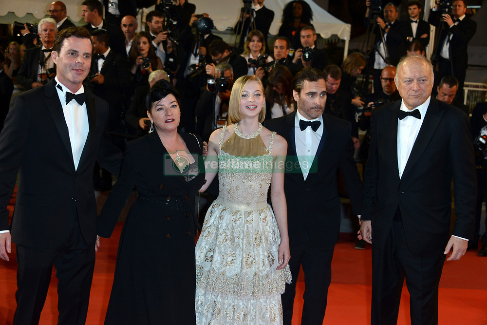 """70th Cannes Film Festival 2017, Red carpet film """"You Were Never Really Here"""". Pictured: Ecaterina Samsonov, Joaquin Phoenix, Lynne Ramsay"""
