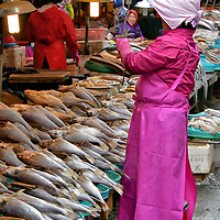 Ajumas at Jagalchi Fish Market in Busan, South Korea<br />
