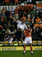 Photo: Steve Bond.<br />Derby County v Blackpool. Carling Cup. 28/08/2007. Craig Fagan goes for a high ball