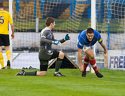 Cowdenbeath's John Armstrong (5) cele  scoring their first goal..half time : Falkirk v Cowdenbeath, 9/2/2013..©Michael Schofield.
