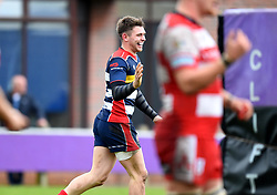 James Newey of Bristol United celebrates his try - Mandatory by-line: Paul Knight/JMP - 18/11/2017 - RUGBY - Clifton RFC - Bristol, England - Bristol United v Gloucester United - Aviva A League