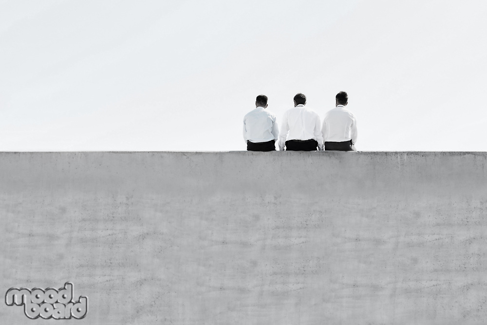 Black and white photo of mature thoughtful businessmen sitting on office rooftop
