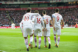 October 8, 2017 - Warsaw, Poland - The Polish players celebrate after scoring during the FIFA World Cup 2018 Qualifying Round Group E match between Poland and Montenegro at National Stadium in Warsaw, Poland on October 8, 2017  (Credit Image: © Andrew Surma/NurPhoto via ZUMA Press)