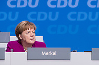 26 FEB 2018, BERLIN/GERMANY:<br /> Angela Merkel, CDU, Bundeskanzlerin, CDU Bundesparteitag, Station Berlin<br /> IMAGE: 20180226-01-016<br /> KEYWORDS: Party Congress, Parteitag