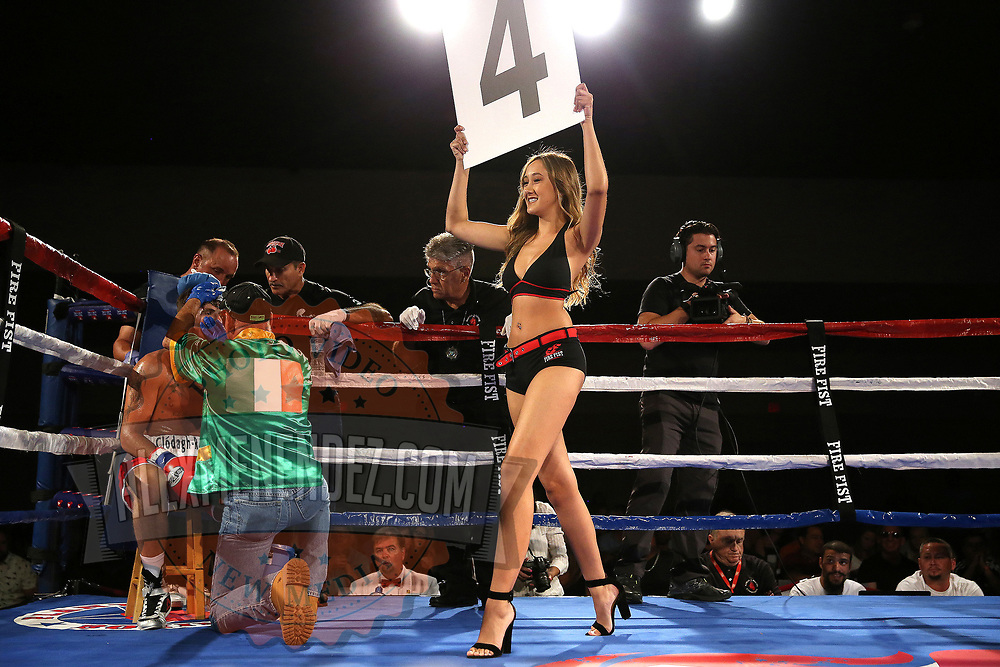 A ring card girl is seen as Conor Coyle fights Joshua Maxwell during a Fire Fist Boxing Promotions boxing match at the A La Carte Pavilion on Saturday, August 12 , 2017 in Tampa, Florida.  (Alex Menendez via AP)