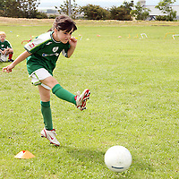 Chantelle Burke taking a penalty at the Moneypoint F.C F.A.I summer soccer camp in Kilrush during the week.<br /><br /><br /><br />Photograph by Yvonne Vaughan.