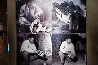 Nelson Mandela burning his pass book during the 1952 Defiance Campaign, Apartheid Museum, Johannesburg, South Africa.
