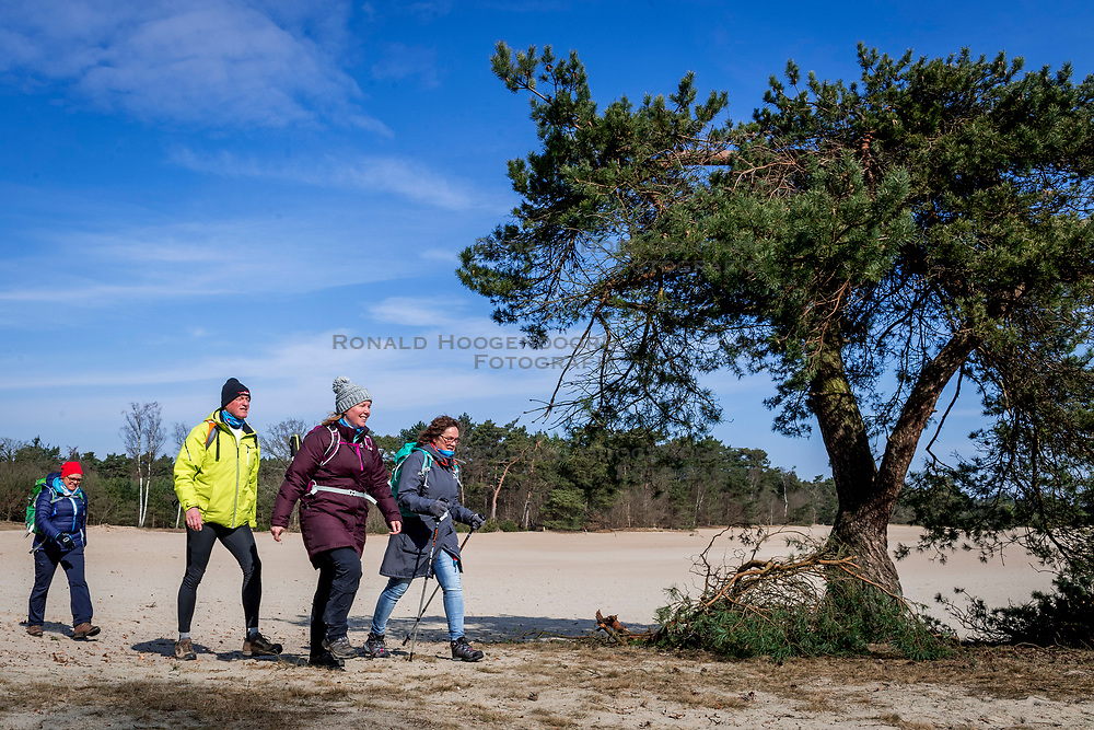 18-03-2018 NED: We hike to change diabetes, Soest<br /> Training voor de Camino 2018 op de Soesterduinen / track hiking lopen zand Eric, Wanda, Petra, Michelle