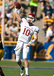 October 24, 2009; Berkeley, CA, USA;  Washington State Cougars quarterback Jeff Tuel (10) throws against the California Golden Bears during the first quarter at Memorial Stadium.
