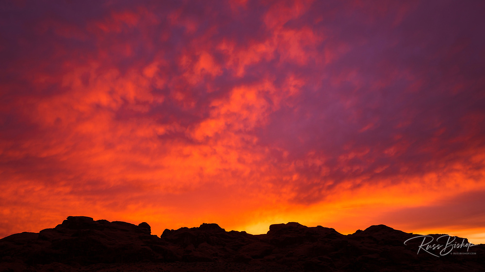 Sunset over Valley of Fire State Park, Nevada USA