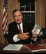 President H.W. Bush (Bush 41) announcing his drug plan in the Oval Office...Photograph by Dennis Brack, BB 29
