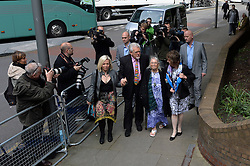 Rolf Harris arrives at Southwark Crown Court at the start of week 2 of his trial.<br /> <br /> Pictured is Rolf Harris with his daughter, Bindi (left), and wife, Alwen (third from left).<br /> <br /> Monday, 12th May 2014. Picture by Ben Stevens / i-Images