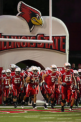 26 September 2009: The Redbirds storm the field emerging from an inflatable tunnel before the game which the South Dakota State Jackrabitts jump past the Illinois State Redbirds 38 - 17 at Hancock Stadium on campus of Illinois State University in Normal Illinois