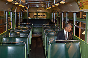 18.APRIL.2012. DEARBORN<br /> <br /> PRESIDENT BARACK OBAMA SITS ON THE FAMED ROSA PARKS BUS AT THE HENRY FORD MUSEUM FOLLOWING AN EVENT IN DEARBORN, MICHIGAN, APRIL 18, 2012.  <br /> <br /> BYLINE: EDBIMAGEARCHIVE.COM<br /> <br /> *THIS IMAGE IS STRICTLY FOR UK NEWSPAPERS AND MAGAZINES ONLY*<br /> *FOR WORLD WIDE SALES AND WEB USE PLEASE CONTACT EDBIMAGEARCHIVE - 0208 954 5968*