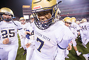 Elkhorn South's Moses Bryant celebrates after defeating Omaha Skutt during the Class B state title game at Memorial Stadium on Tuesday, Nov. 22, 2016, in Lincoln.<br /> <br /> MATT DIXON/THE WORLD-HERALD