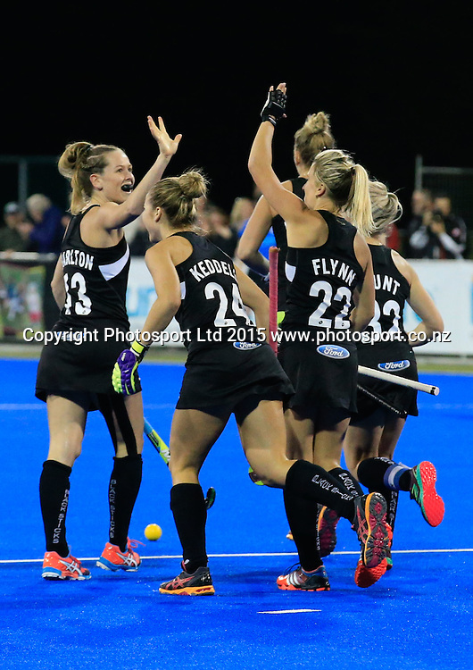 New Zealand celebrate a goal by Gemma Flynn. New Zealand Black Sticks Women v Australia, Final, Festival of Hockey, Unison Hockey Stadium, Hastings, New Zealand. Sunday, 19 April, 2015. Copyright photo: John Cowpland / www.photosport.co.nz