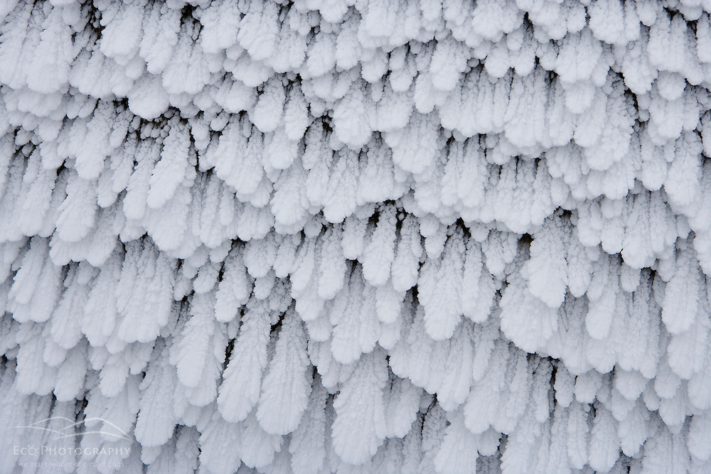 Rime ice on the summit of Mount Washington in New Hampshire's White Mountains.  March.