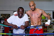 Picture by Alex Broadway/Focus Images Ltd +44 7905 628183<br /> 29/05/2013<br /> Clinton McKenzie and Leon McKenzie pose after a workout at Duke McKenzie Fitness Centre, Crystal Palace, London.